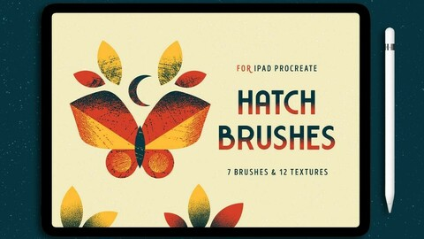 7 Procreate Brushes with Hatch Texture