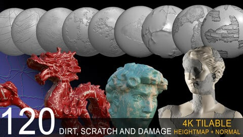 120 (alpha+normal) dirt ,scratch, damage bundle TILEABLE 4K