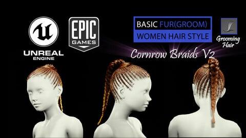 Cornrow Braids V2 Styles (Groom) For UE4