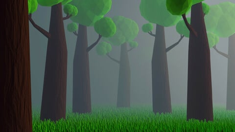 3d low poly forest