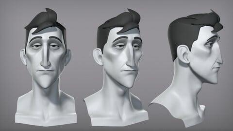 Cartoon male character Pierce base mesh
