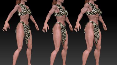 Basemesh girl with Muscles morph. Textured. ZTL
