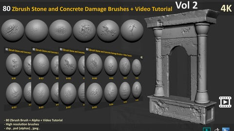 80 Zbrush stone and Concrete Damage Brushes + Video Tutorial - Vol 2