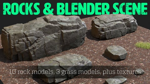 Rock Kitbash Set - PLUS Example Blender Scene
