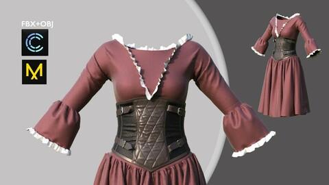Female Dress with Corset Marvelous Designer/Clo3d project + OBJ + FBX