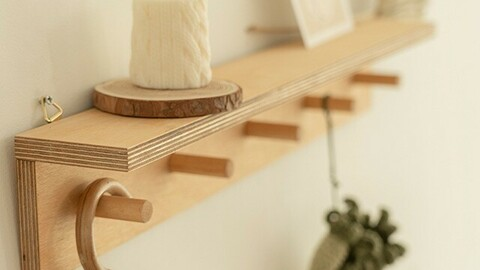 Natural Wood Hook Shelf