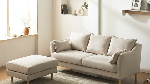 Cameron 3-seater style clean washable fabric sofa