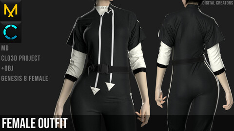 Female Outfit. CLO3D / Marvelous Designer project + OBJ