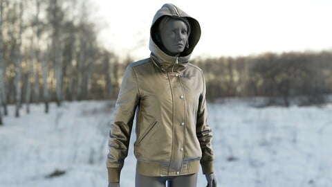 Realistic 3D model of Womens Down Jacket 5