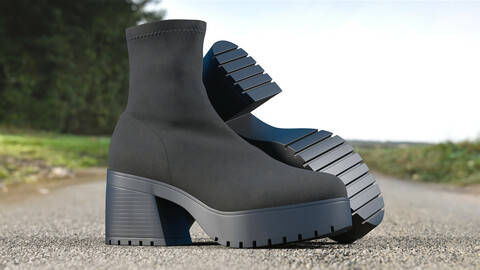 Realistic 3D model of Womens Boots 7