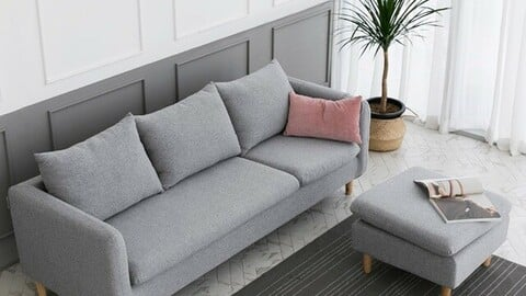 DK053 3-seat full cover gray water-repellent fabric sofa with stool included