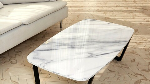 Marble Oval Living Room Table (1200x600)-Trapezoidal Matte Black Legs