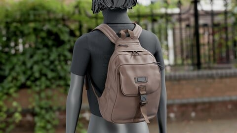 Realistic 3D model of Womens Backpack 6