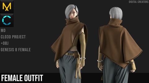 Female Outfit. CLO3D / Marvelous Designer project + OBJ