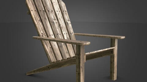 Armchair of the old wooden planks for garden PBR Low-poly 3D model