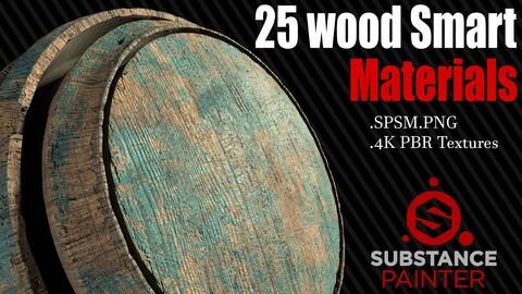 25 Wood Smart Materials + 4K PBR Textures