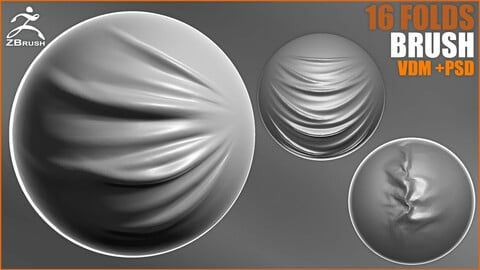 16 Folds Brush for ZBrush (VDM + PSD)