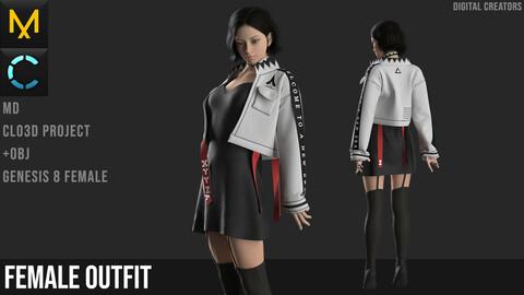 Female outfit. Marvelous Designer / Clo 3D project +obj