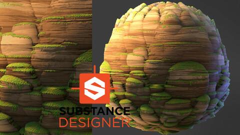 Stylized Natural Cliff Rock - Substance Designer