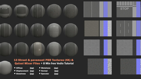 13 street and pavement PBR textures & quixel mixer files + Free video tutorial