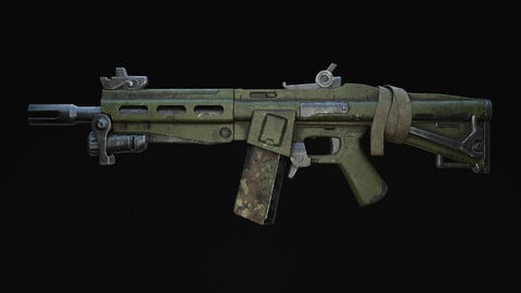 Assault Rifle Sci-Fi Post Apocalypse Game Ready