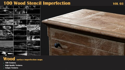 100 Wood Stencil Imperfection-VOL 03