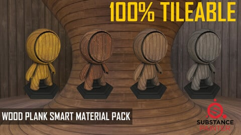 Wood Plank Smart Material Pack 100% TILEABLE