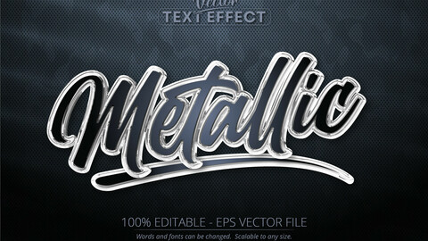Metallic text, shiny silver color style editable text effect on dark camouflage background