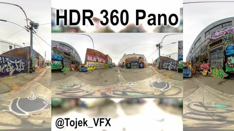 HDR 360 Panorama DTLA Graffiti Alley Cloudy 025 (Set pano 2 of 6)