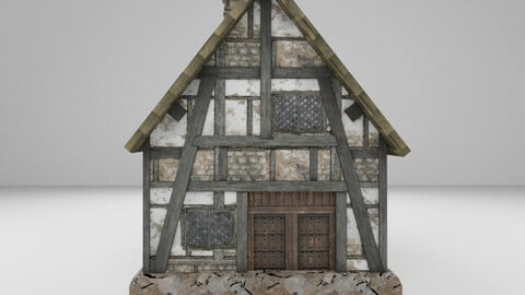 Low Poly Medieval House 2 3D Model