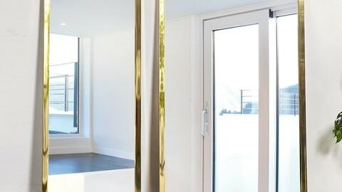 Octagonal Gold Full Body Mirror