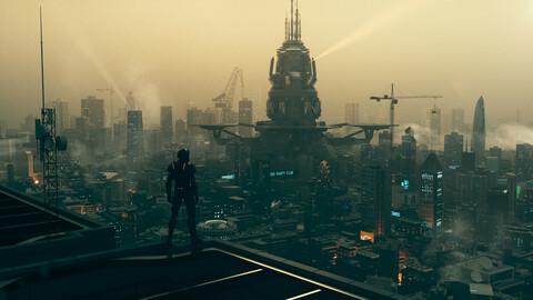 C4D Octane render Cyberpunk city CBD sea river building Urban agglomeration