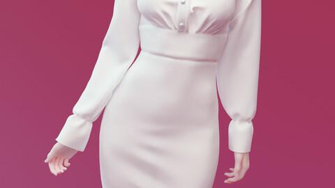 Soft Lady of Kindness Dress Marvelous designer + OBJ