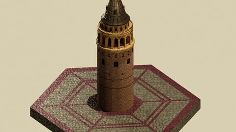 Stylized Galata Towers 3D Model