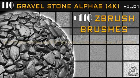 110 ZBRUSH GRAVEL STONE BRUSHES + 110 ALPHA HIGH QUALITY (4K) -VOL.01