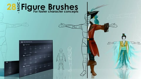 Figure Brushes - BASIC PACK - For Faster Character Concepts