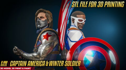 3D Printable CAPTAIN AMERICA and the WINTER SOLDIER STL Model