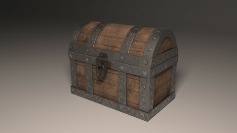 Low-poly rusted chest
