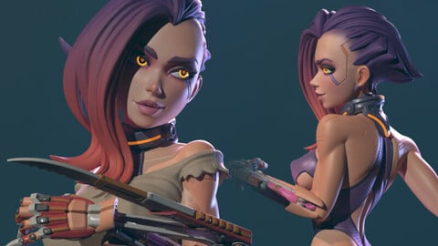 Cyberpunk Girl, Blossom / 3D Print STL / Rendered Images