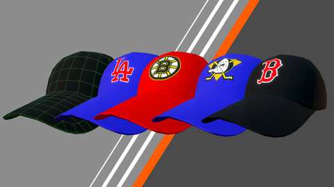 Low poly baseball cap (with and without logo) .fbx .obj PBR