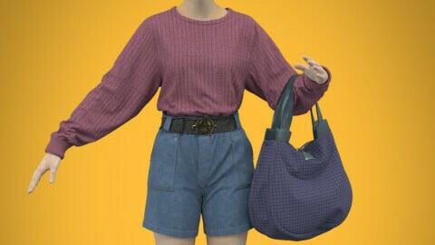 Set of sweater, shorts, belt and bag