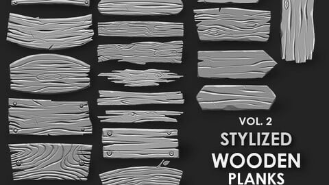 Stylized Wooden Plank IMM Brush Pack 21 in One Vol.2