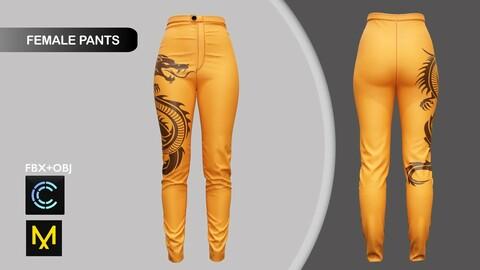 Female Leather Pants Marvelous Designer/Clo3d project + OBJ + FBX
