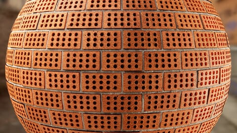 PBR - BRICK WALL ROUNDED HOLES, HOLLOW, CLAY - 4K MATERIAL