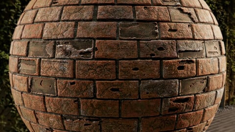 PBR - BRICK WALL , BUILT BY HAND, OLD - 4K MATERIAL