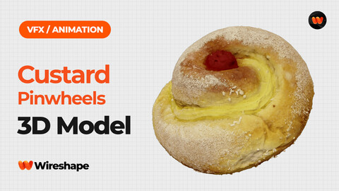 Custard Pinwheels with Cherry - Extreme Definition 3D Scanned