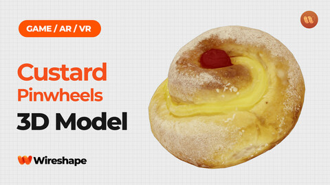 Custard Pinwheels with Cherry - Real-Time 3D Scanned
