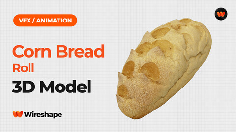 Corn Bread Roll - Extreme Definition 3D Scanned