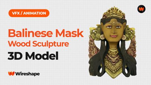 Balinese Janger Dancer Mask Wood Sculpture - Extreme Definition 3D Scanned