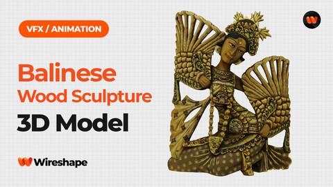 Balinese Legong Dancer Wood Sculpture - Extreme Definition 3D Scanned